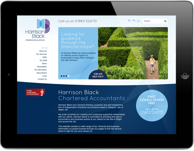 Accountants Company Website Design for Harrison and Black