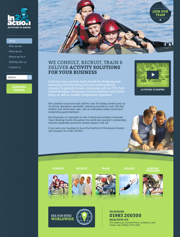 Activity Sport Website Design and Build for In2Action