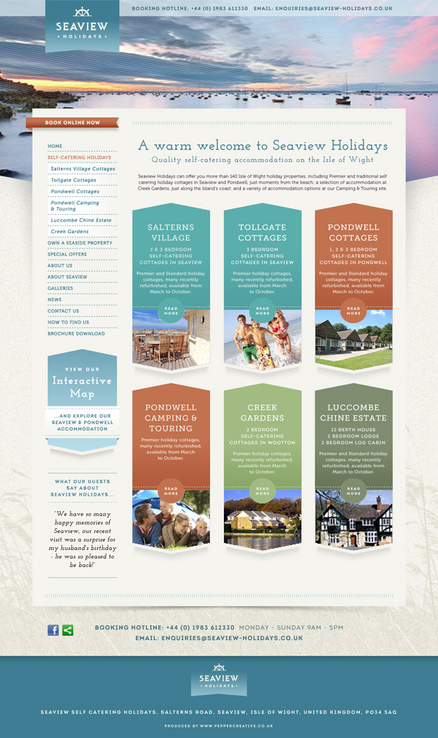 Website Design and Build for Seaview Holidays Resort