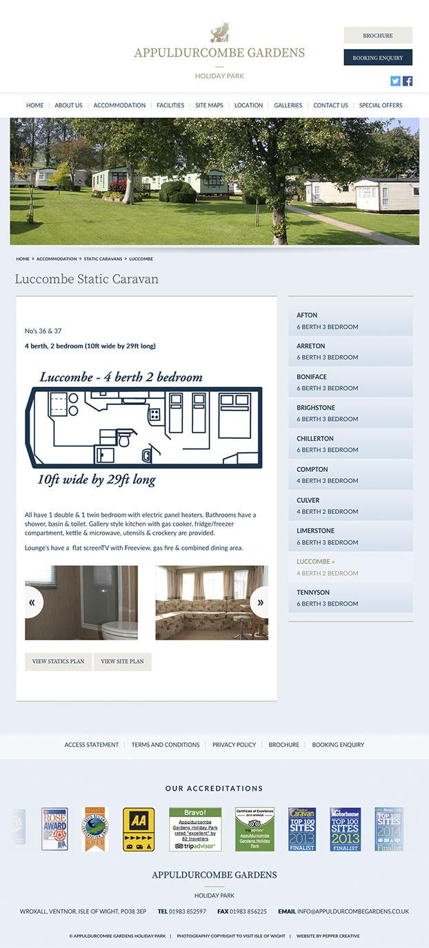 Campsite website designers - Appuldurcombe Gardens