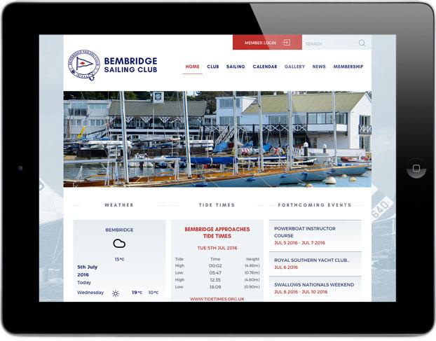 Responsive web site design tablet sailing club
