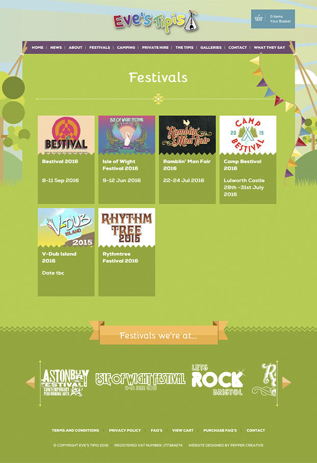 Events & festivals web site design
