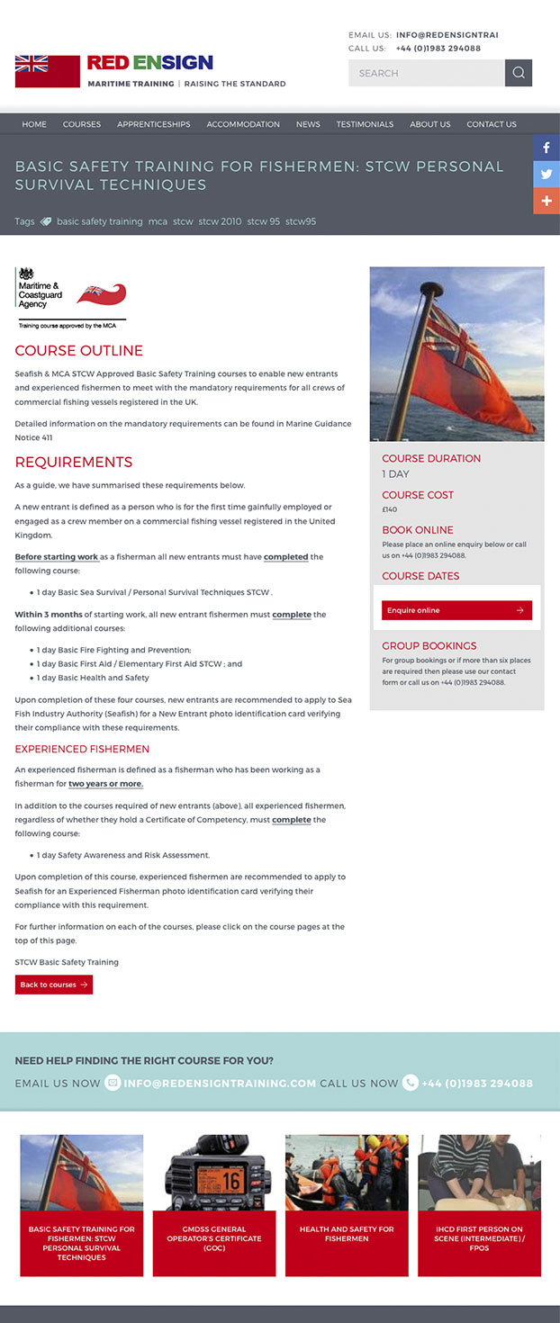 Red Ensign Training website design