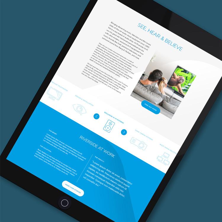 AV retail tablet web design Riverside Hi-Fi