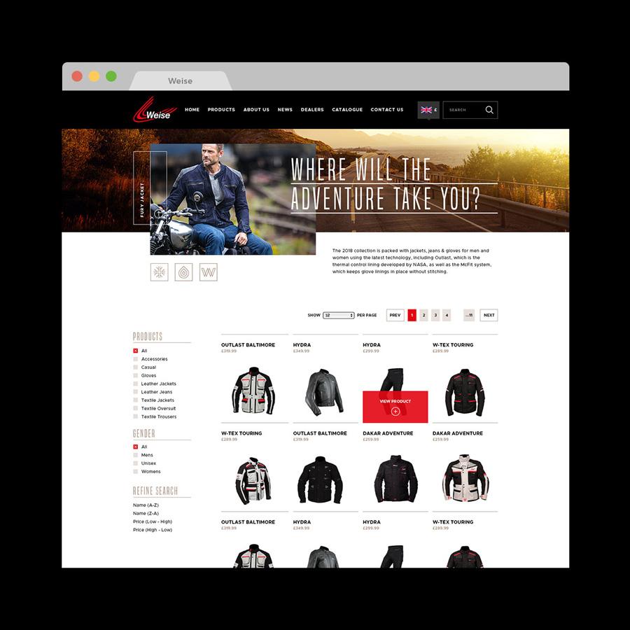 Clothing web catalogue design Weise