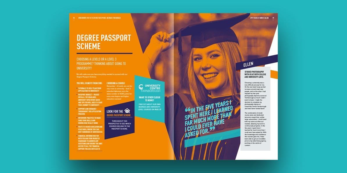 College prospectus design printing Farnborough college