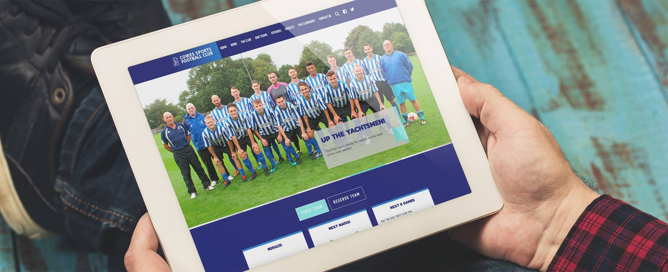 Football club tablet website design Cowes football club