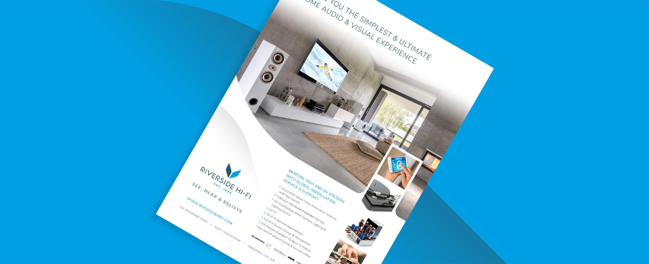 High end AV advertising designs Riverside Hi-Fi