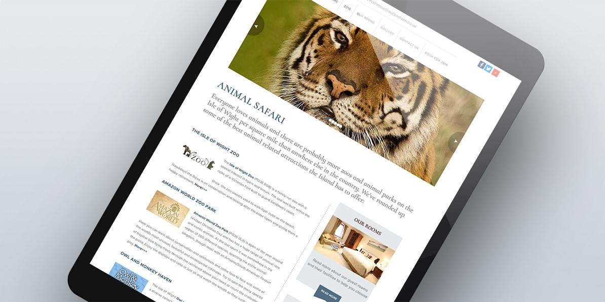 IOW tablet web design Chale Bay Hotel