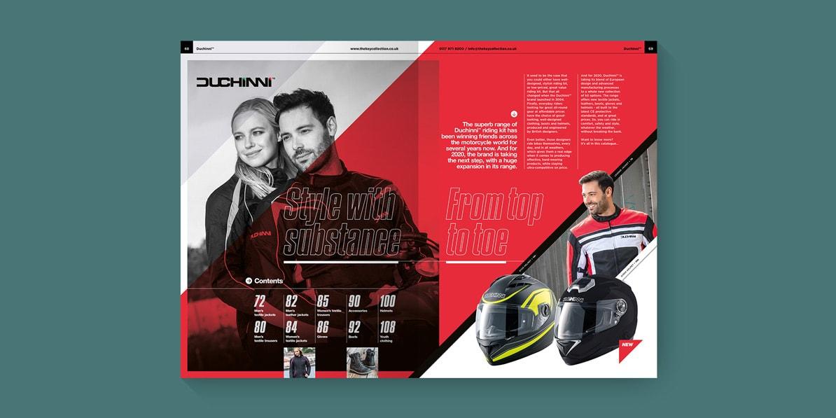 Motorcycle clothing catalogue design