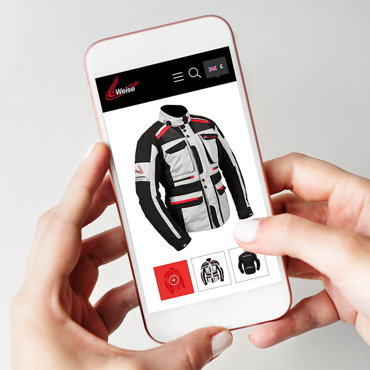 Motorcycle clothing tablet web design Weise
