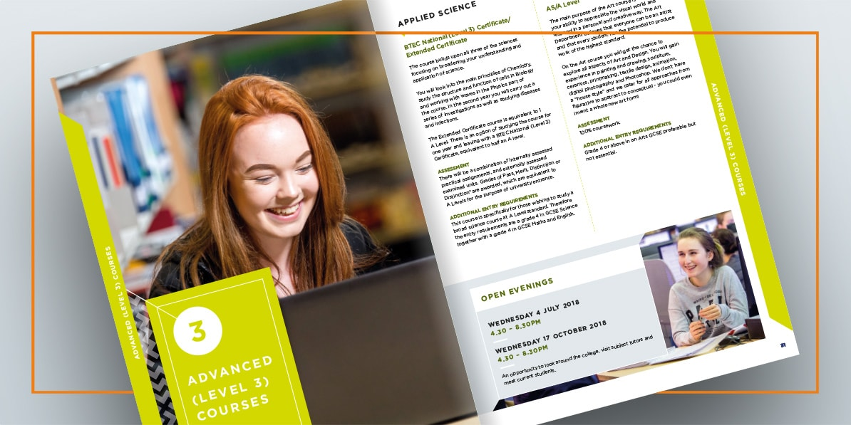 Prospectus brochure design Godalming College
