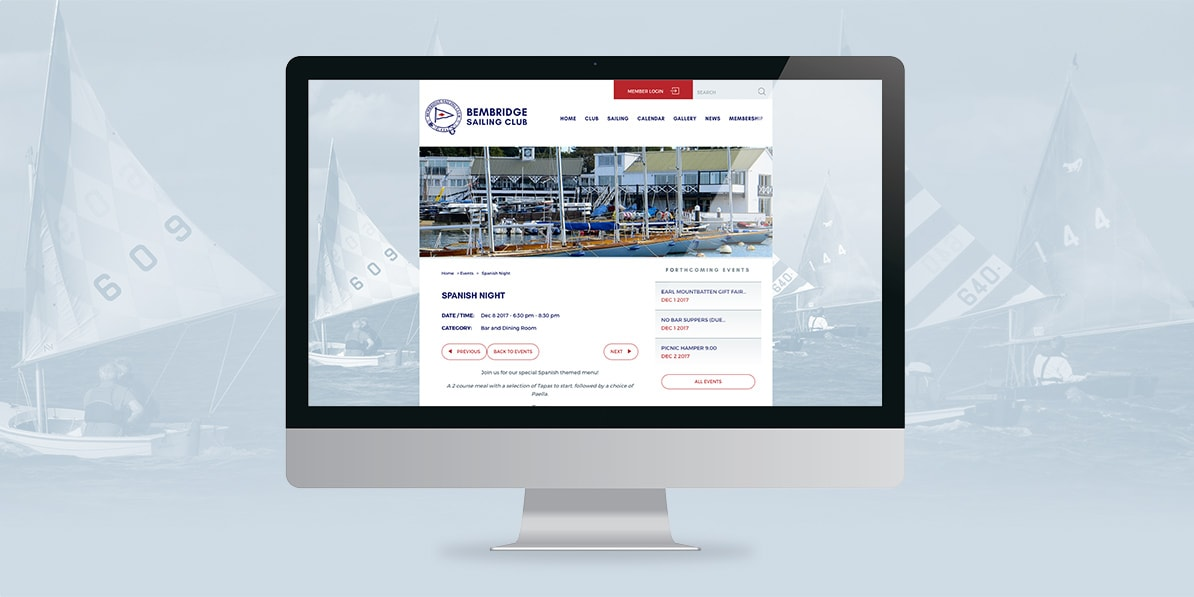 Sailing club desktop web design Bembridge Sailing Club