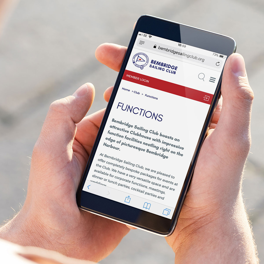Sailing club mobile web design Bembridge Sailing Club