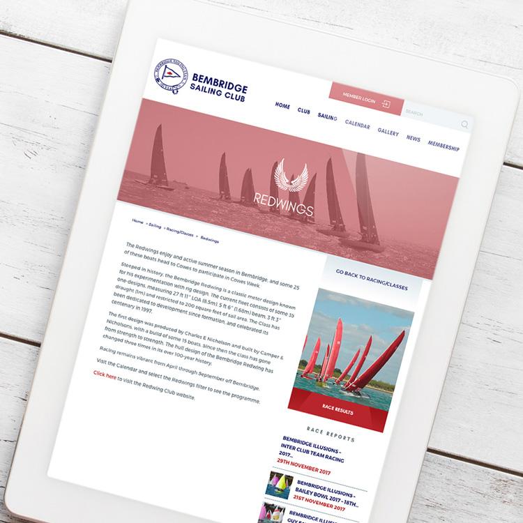 Sailing club tablet web design Bembridge Sailing Club
