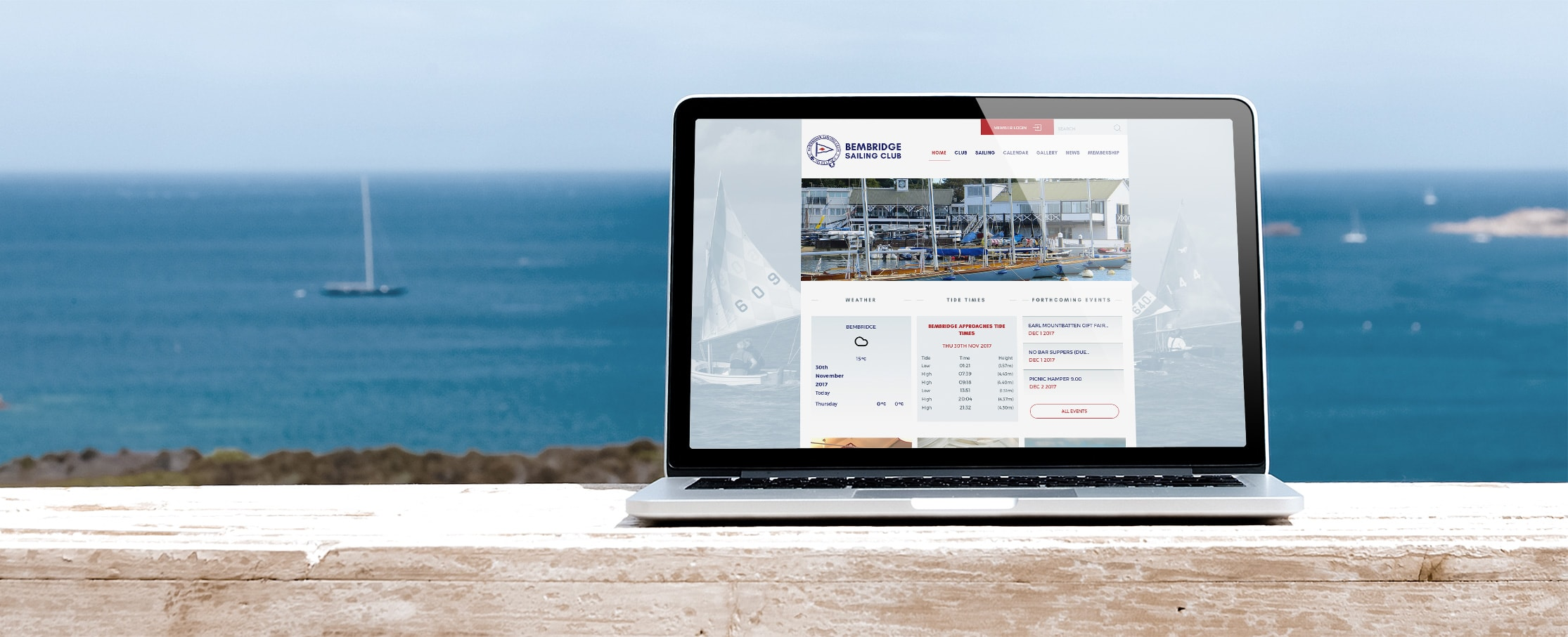 Sailing club web development Bembridge Sailing Club