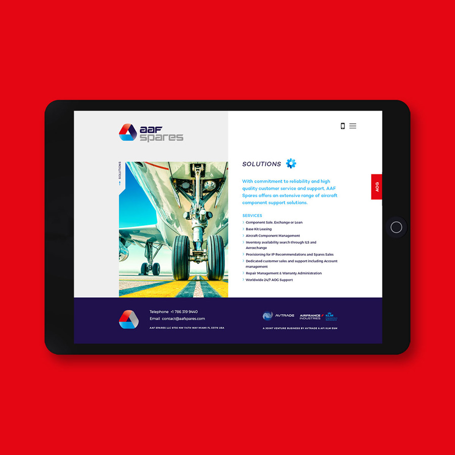 Tablet web design aviation AAF Spares