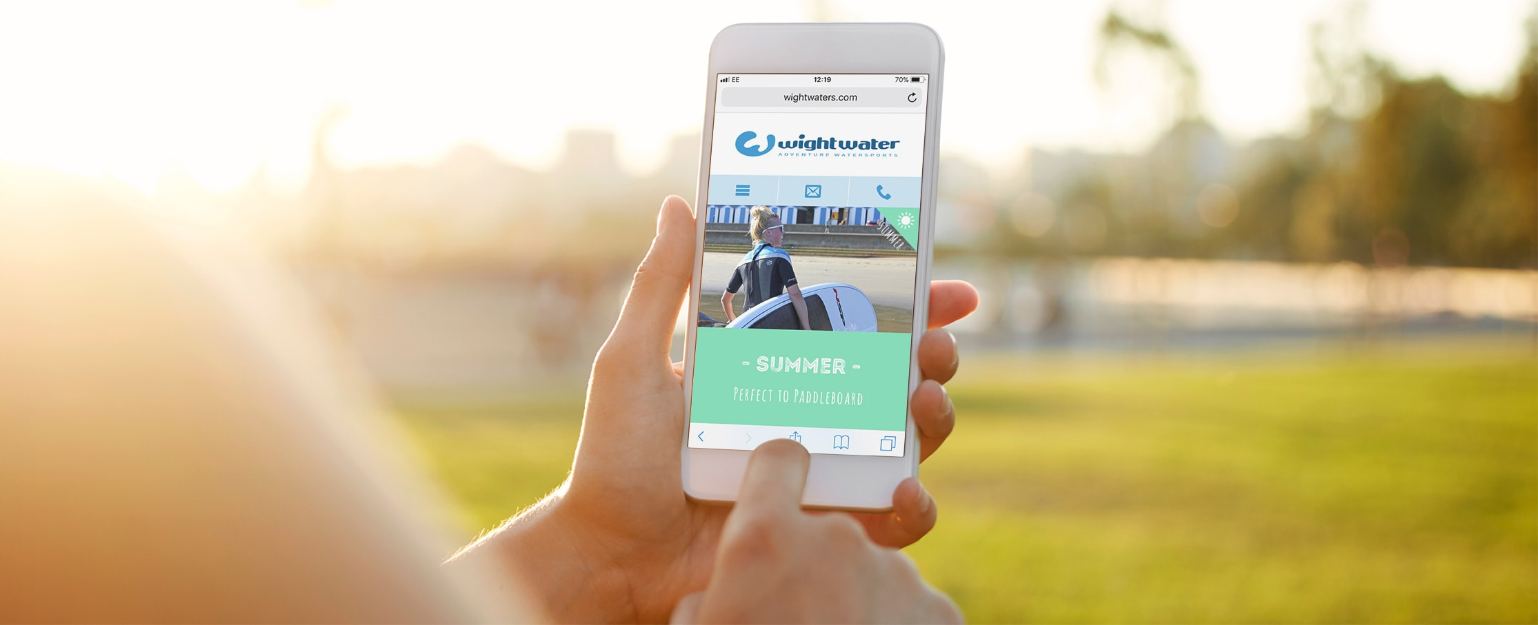 Water sport mobile web design Wightwaters