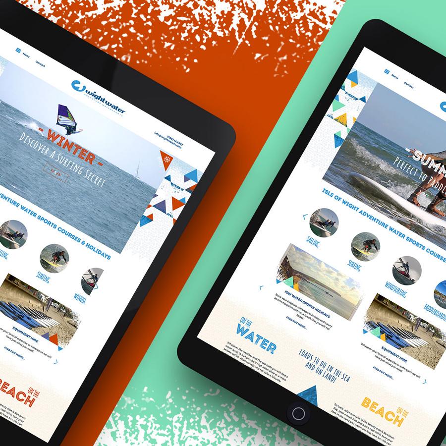Water sport tablet web design Wightwaters